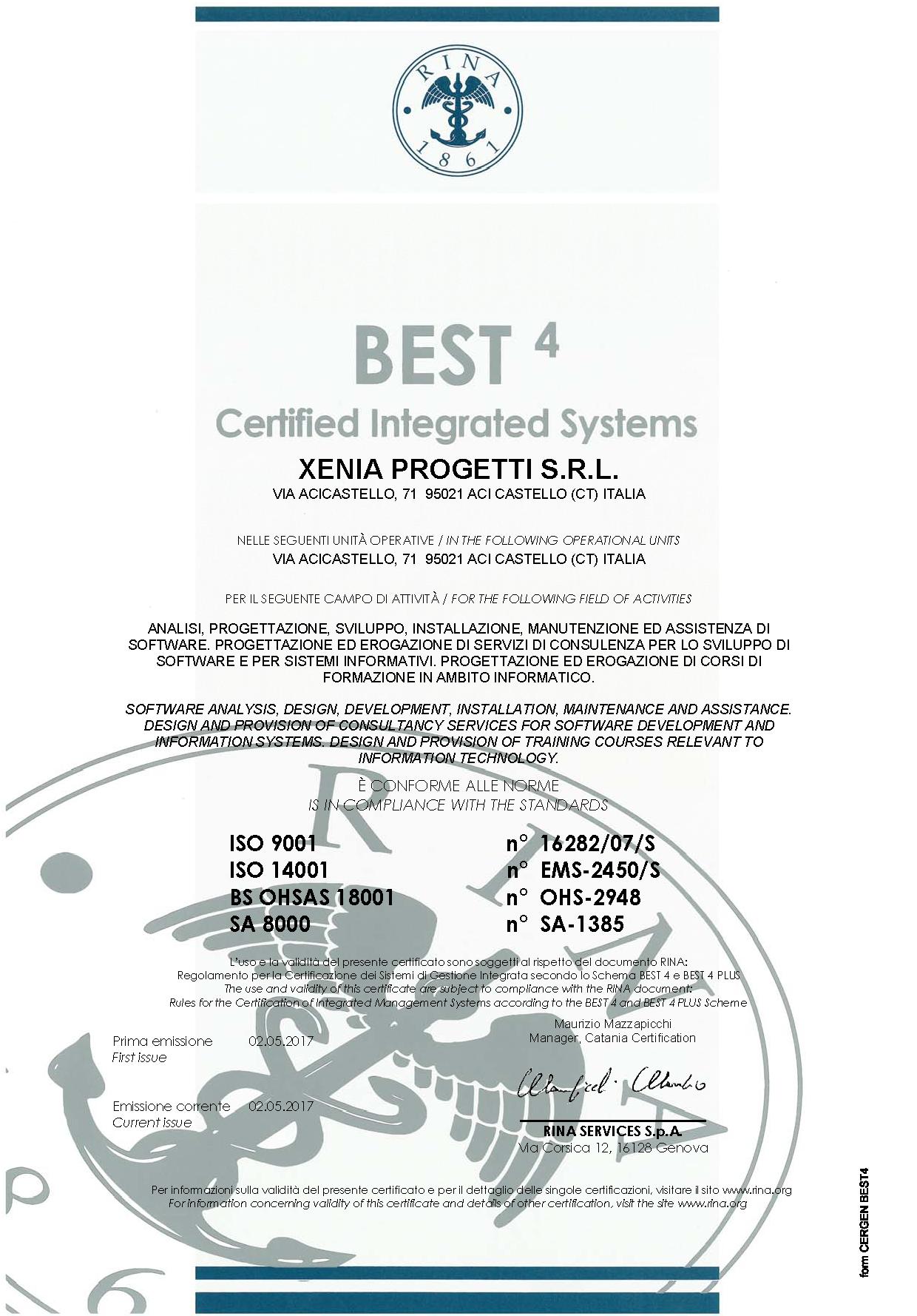 Best4 certification mark xenia progetti xflitez Images